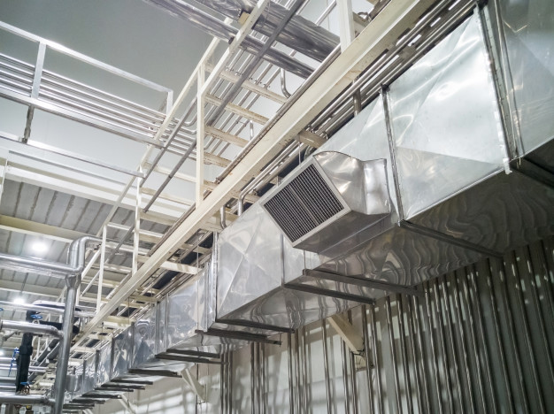Industrial Air Duct Ventilation Equipment Pipe Systems Installed Industrial Building Ceiling 29285 2191