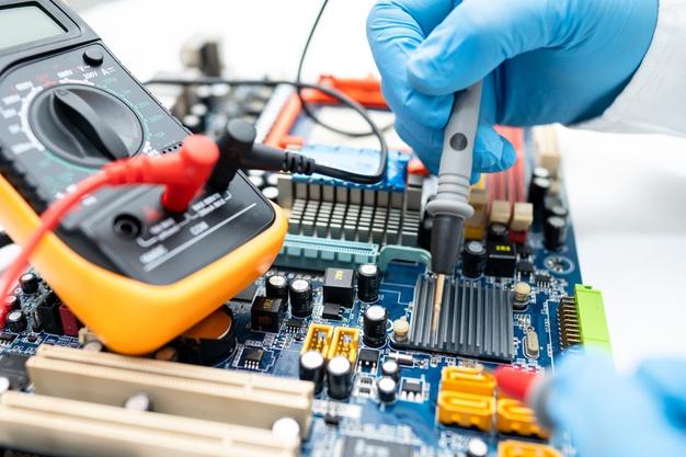 Technician Repairing Inside Hard Disk By Soldering Iron 39768 2111